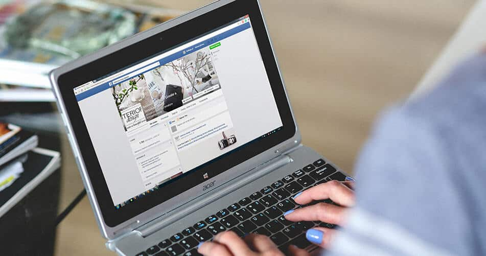 Facebook Page on a Laptop
